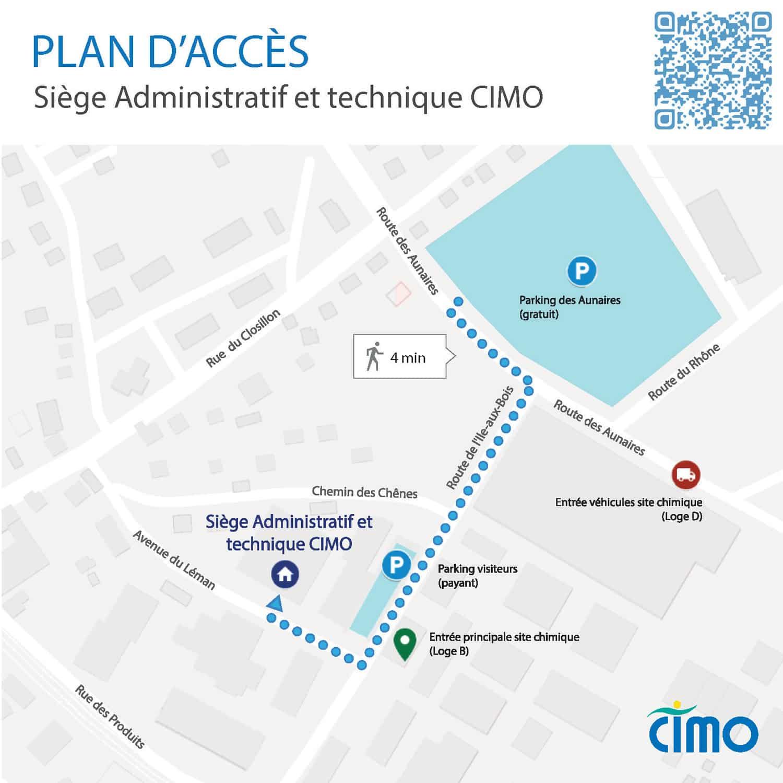 Plan d'accès au siège administratif et technique de CIMO - Bâtiment 341