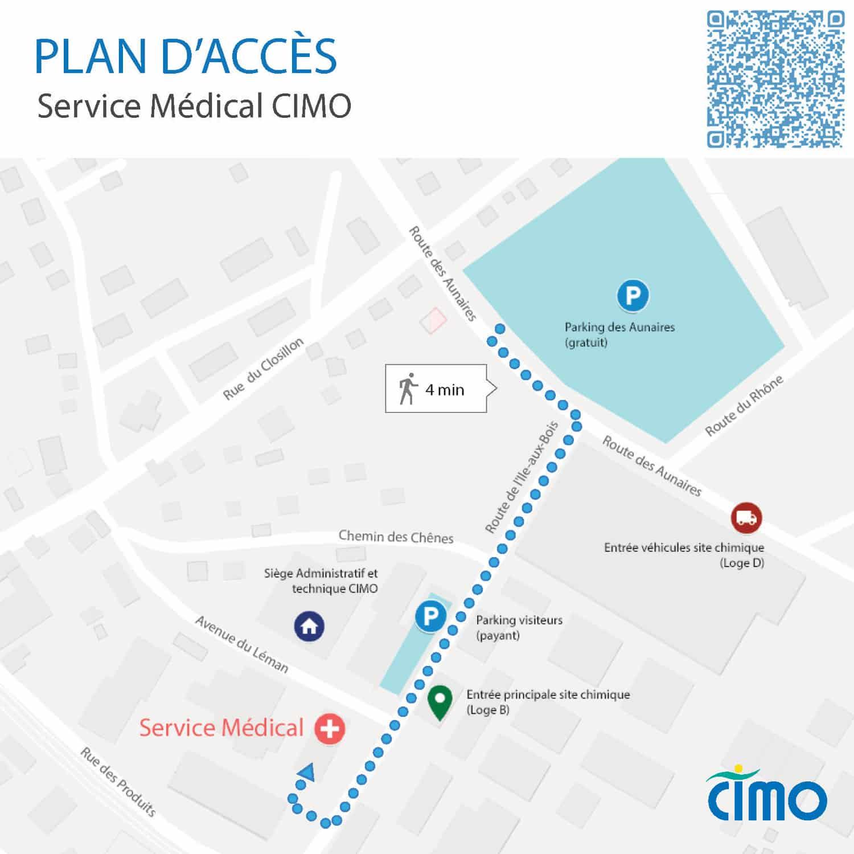 Plan d'accès du service médical de CIMO