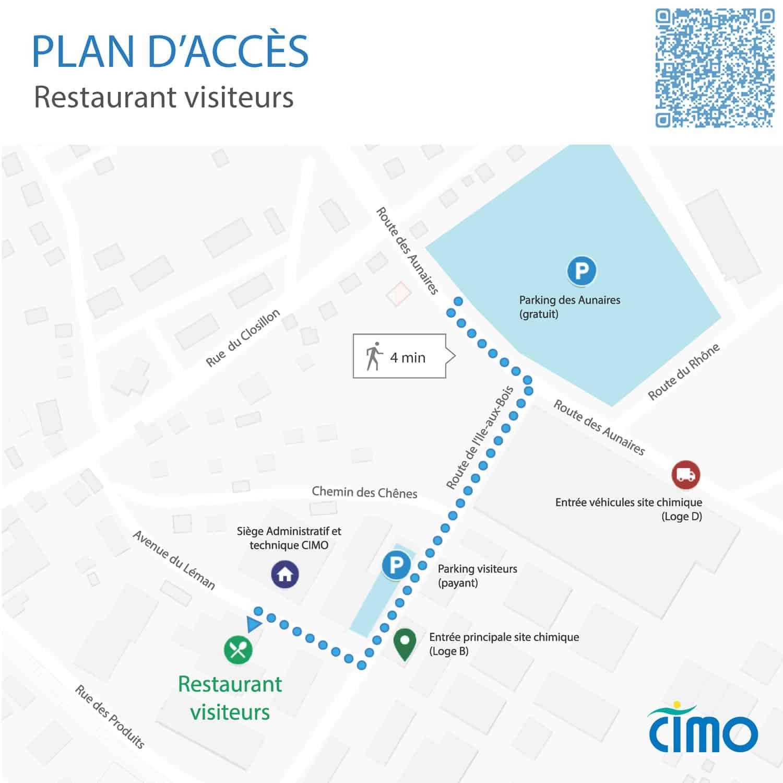 Plan d'accès au restaurant d'entreprises (SV) de CIMO